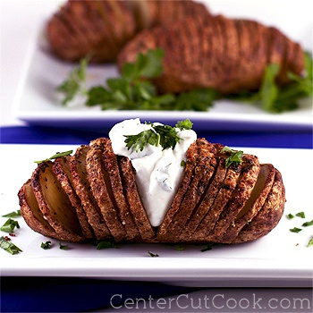 Garlic herb hasselback potatoes