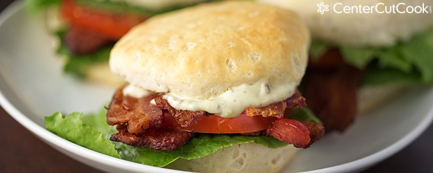 BLT Biscuits with Pesto Mayo