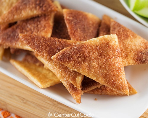 favorite cinnamon sugar pie chips made with leftover pie dough