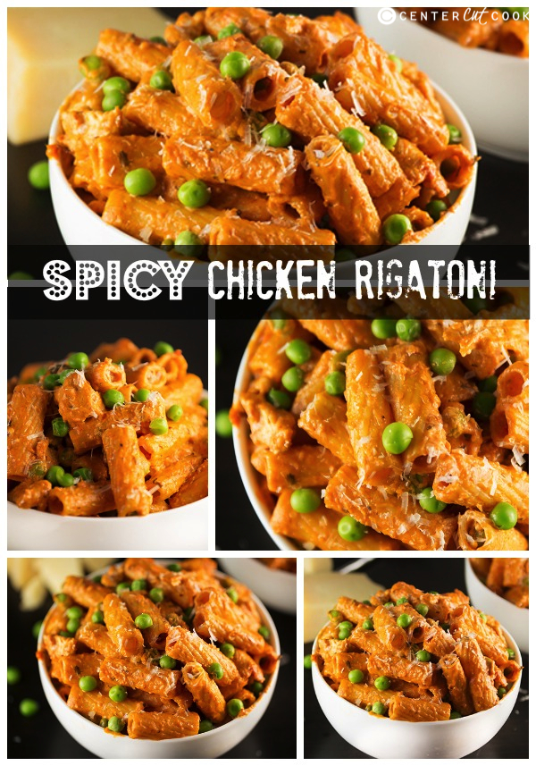Spicy chicken rigatoni collage