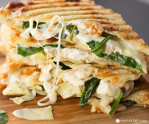 chicken Spinach and artichoke panini