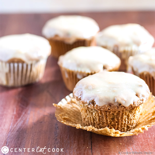 Zucchini Muffins with White Chocolate Peanut Butter Glaze