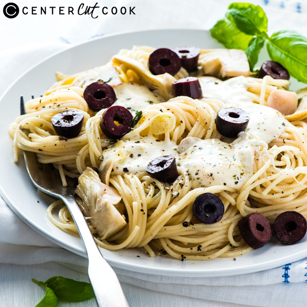 Angel Hair Pasta with Olive, Artichoke and Mozzarella