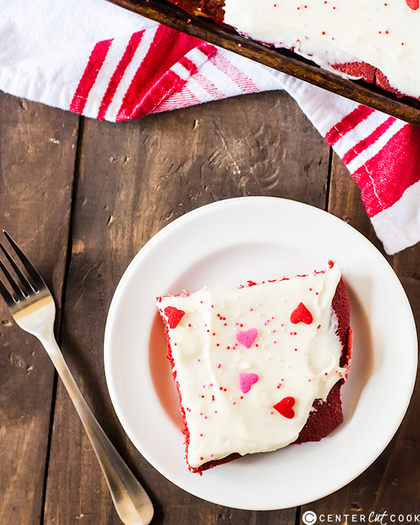 This red velvet sheet cake with cream cheese frosting is a delicious ...