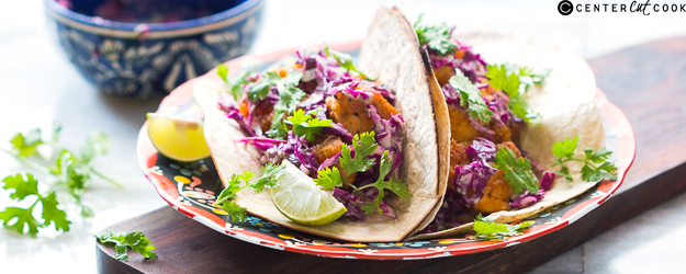 Fish Tacos with Minty Yogurt Red Cabbage Slaw
