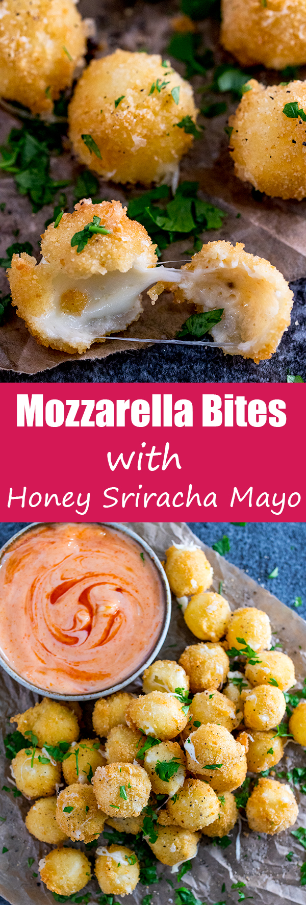 crispy mozzarella bites honey sriracha mayo pin