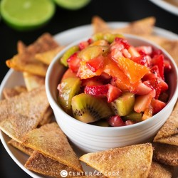 Fruit Salsa with Cinnamon Crisps