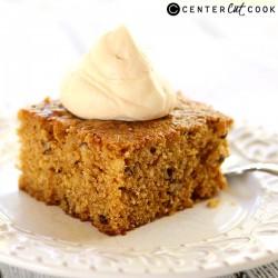 Pumpkin Walnut Cake with Caramel Whipped Cream