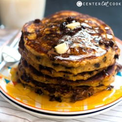 Whole Wheat Pumpkin Chocolate Pancakes
