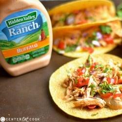Slow Cooker Buffalo Ranch Chicken Tacos