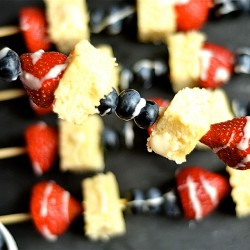 Blueberry and Strawberry Shortcake Kabobs