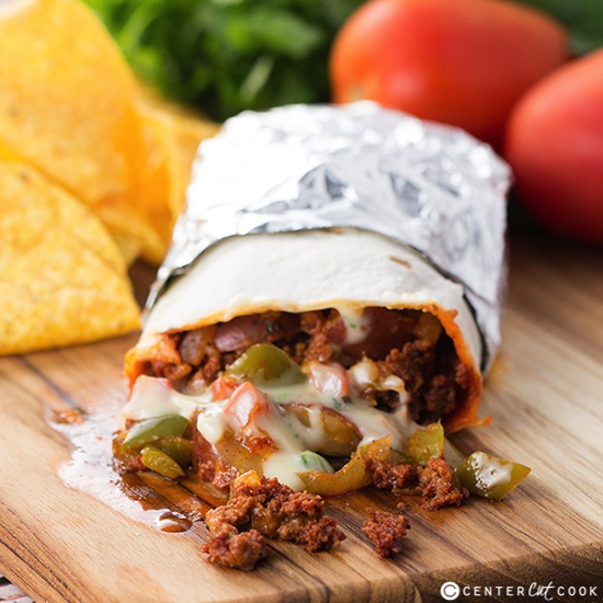 Chorizo potato queso burrito
