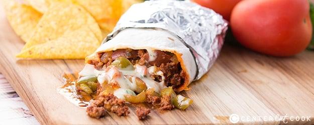 Chorizo potato queso burrito