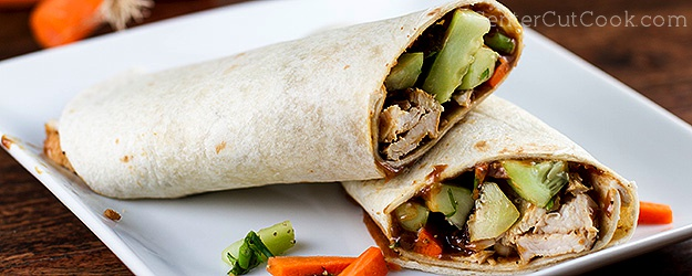 Thai Crunch Wrap with Chicken and Peanut Sauce