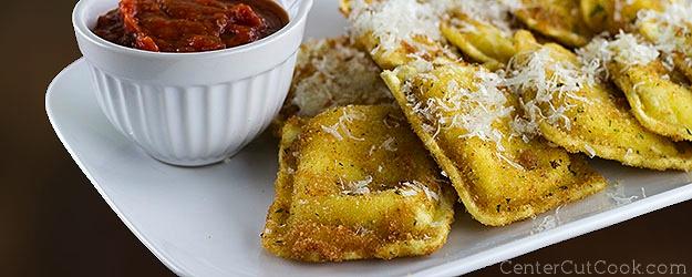 Toasted cheese ravioli