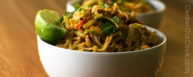 Chicken Veggie Noodle Bowl with Peanut Sauce