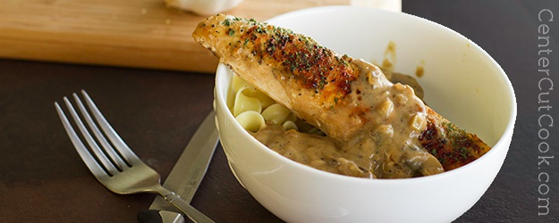 Chicken with Mushrooms in a Light Balsamic Cream Sauce