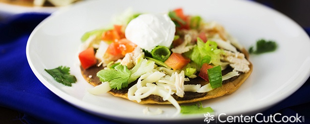Mexican Tostada with Black Bean Spread
