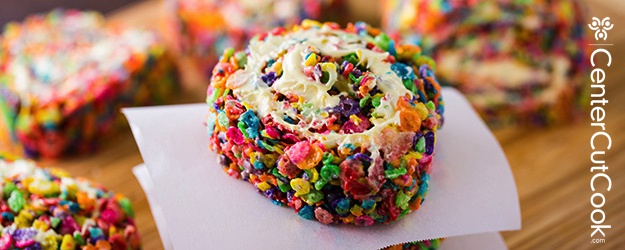 Rainbow Rice Krispie Pinwheels