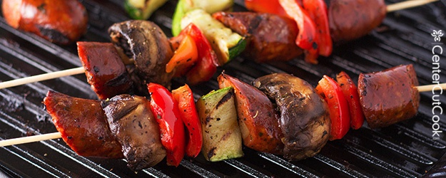Grilled Chicken Sausage Kabobs