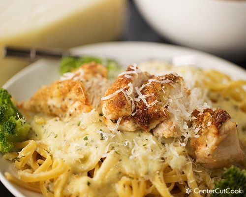 This Parmesan Crusted Chicken Alfredo came to be, completely on a whim ...