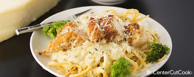 Parmesan Crusted Chicken Alfredo