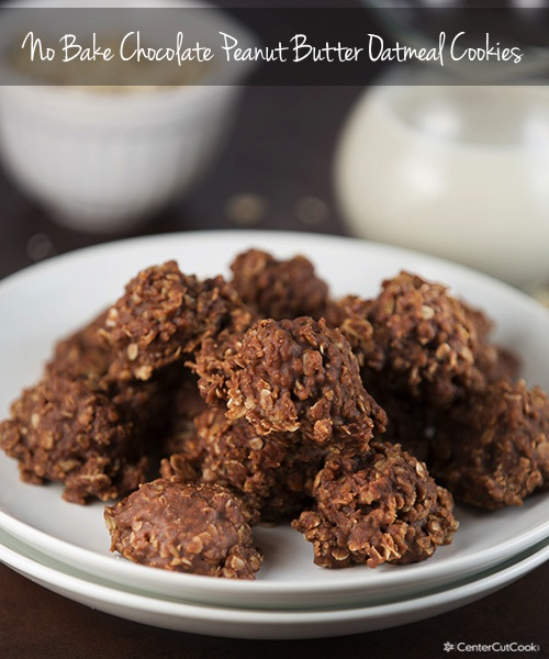 Easy no bake cookies with chocolate, peanut butter and otameal