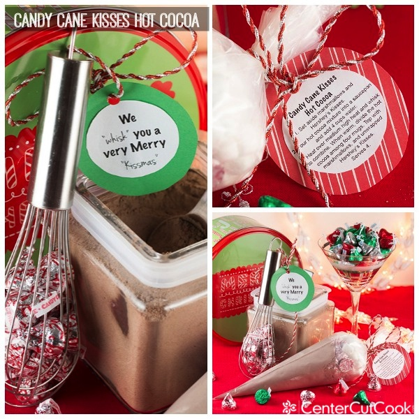 Candy cane kisses hot cocoa collage