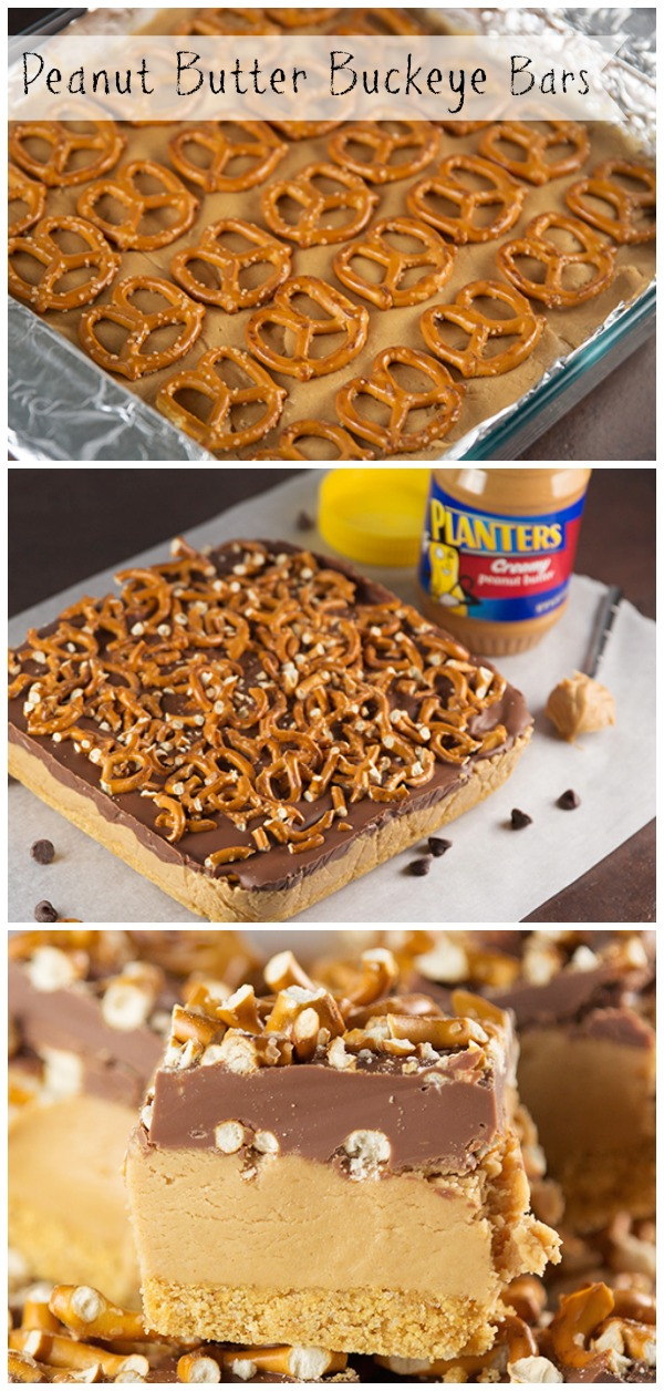 Peanut butter buckeye bars collage