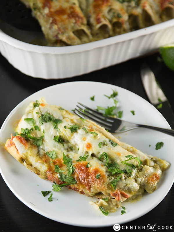 Green chicken chile enchiladas 4
