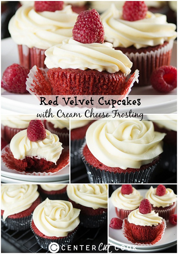 Red velvet cupcakes collage