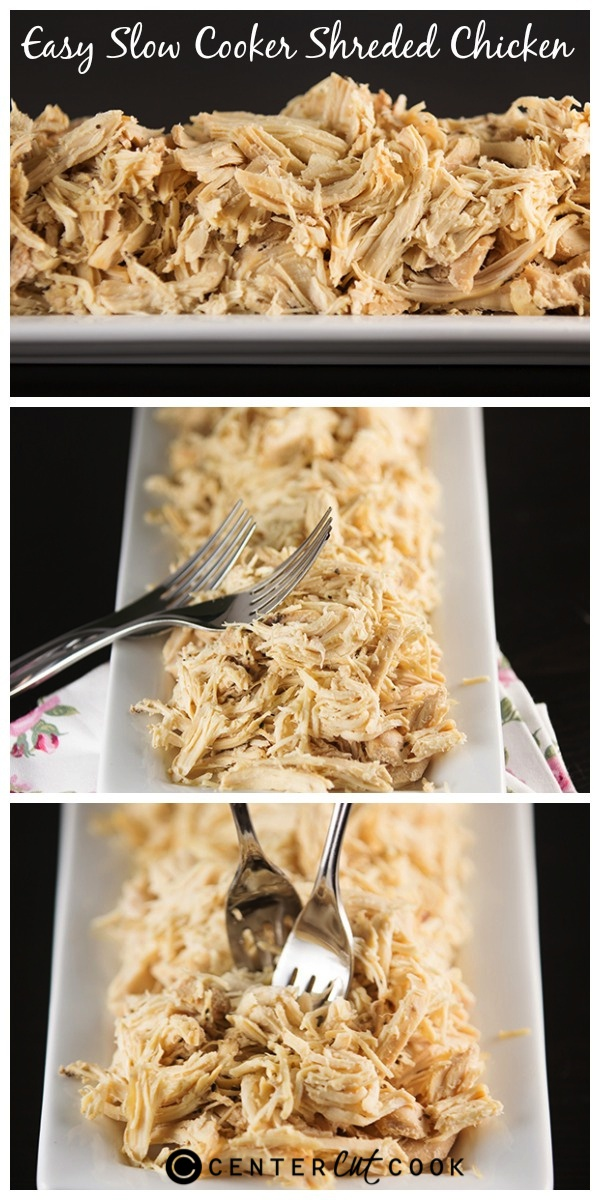 Easy slow cooker shredded chicken collage