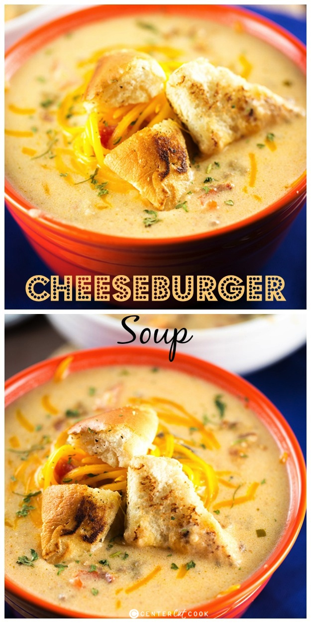 This Cheeseburger Soup recipe is filled with hearty cheeseburger ...