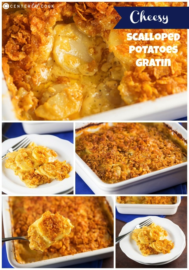 Cheesy scalloped potatoes gratin collage