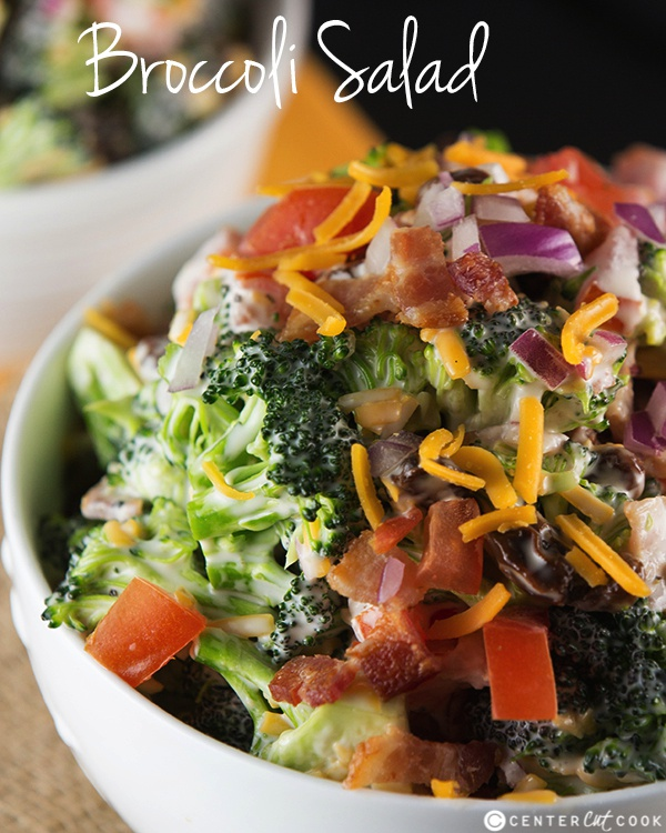 Broccoli Salad recipe with bacon and cheddar cheese! This Broccoli ...