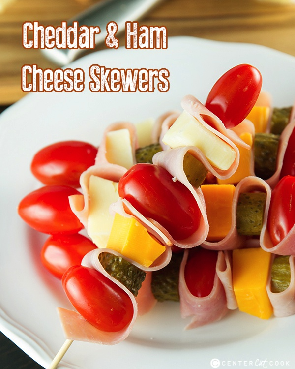 Cheddar and ham skewers 4