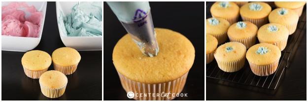 Gender reveal cupcakes step 1