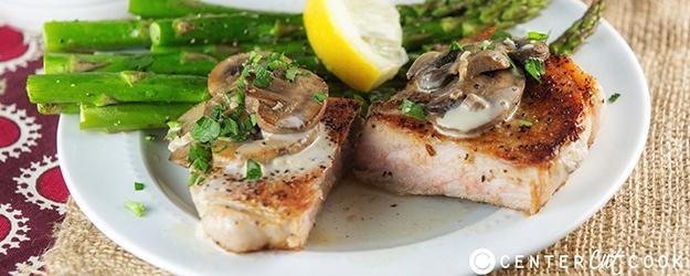 Pan Seared Pork Chops with Mushroom Sauce