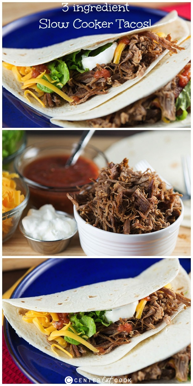 Slow cooker tacos collage