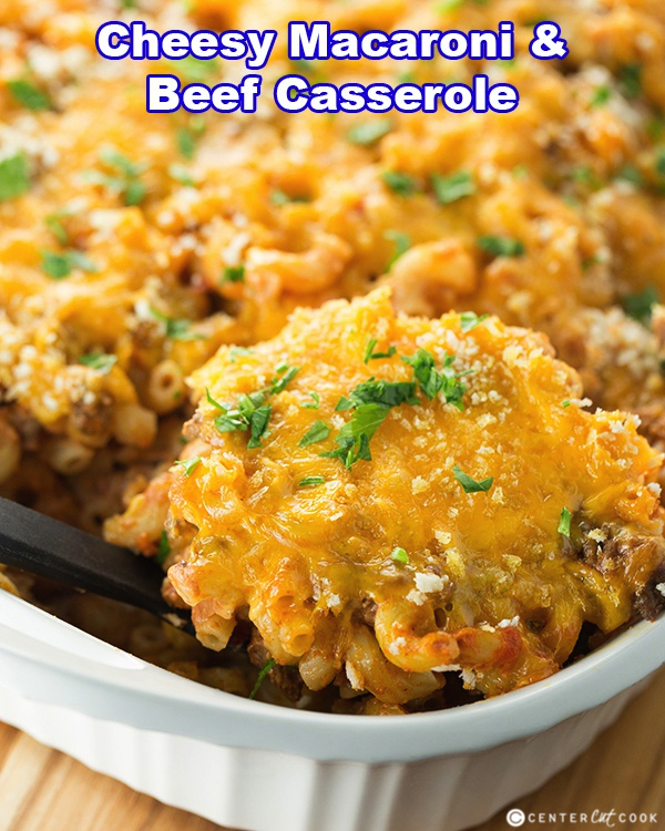 Cheesy Macaroni and Beef Casserole with ground beef, crushed tomatoes ...
