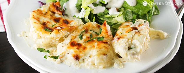 Cheesy Chicken Alfredo Stuffed Shells