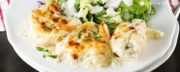 Cheesy Chicken Alfredo Stuffed Shells