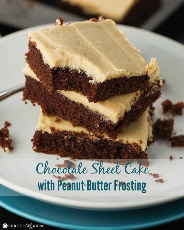 peanut butter sheet cake with peanut butter icing