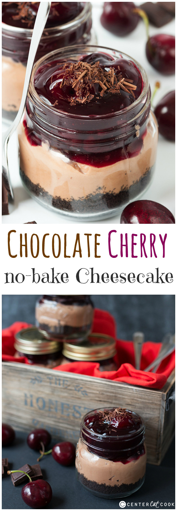 no bake chocolate cherry cheesecake pin
