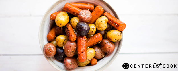 Garlic Roasted Potatoes and Carrots