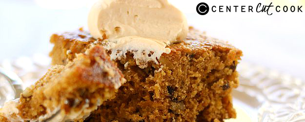 Pumpkin Walnut Cake with Caramel Whipped Cream