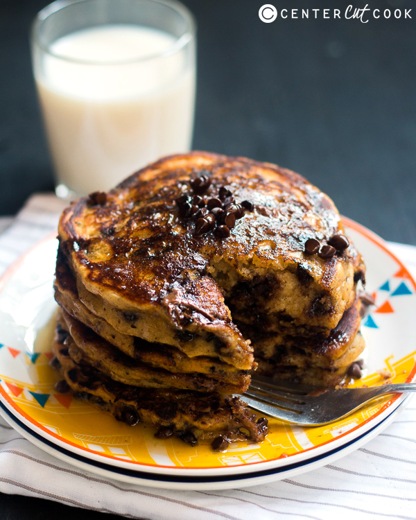 whole wheat pumpkin chocolate pancakes 2