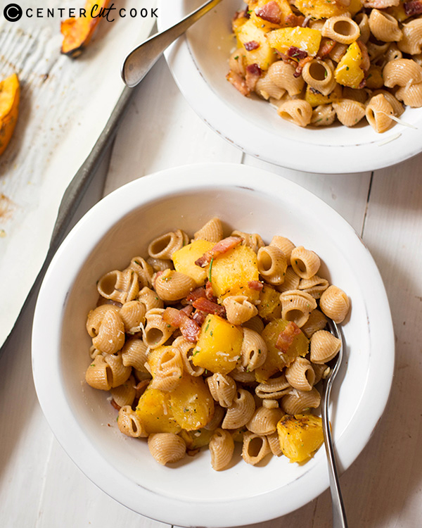 pasta with acorn squash bacon 2
