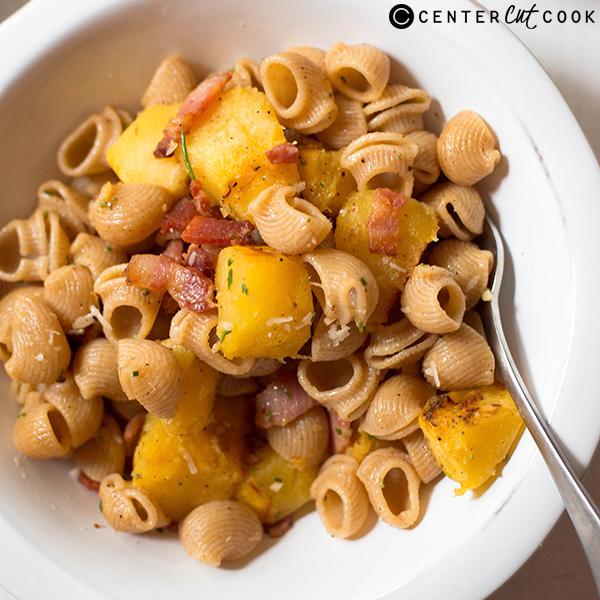 pasta with acorn squash bacon 4