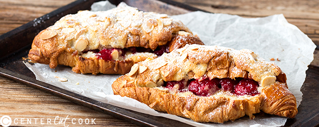 Raspberry Frangipane Stuffed Croissants